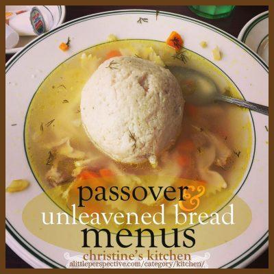 passover and unleavened bread menus