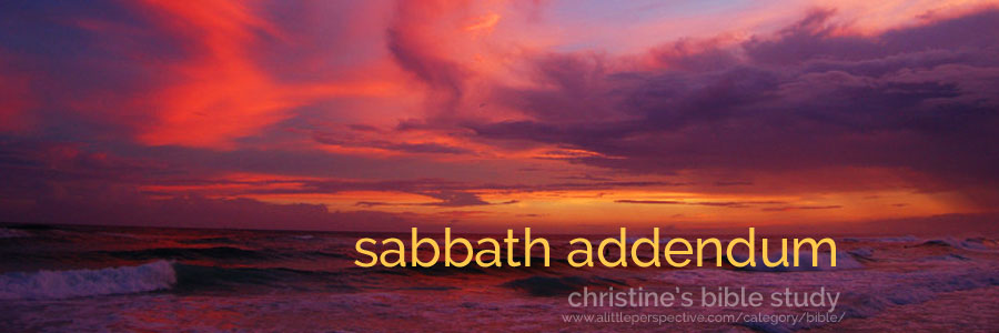 sabbath addendum | christine's bible study at a little perspective