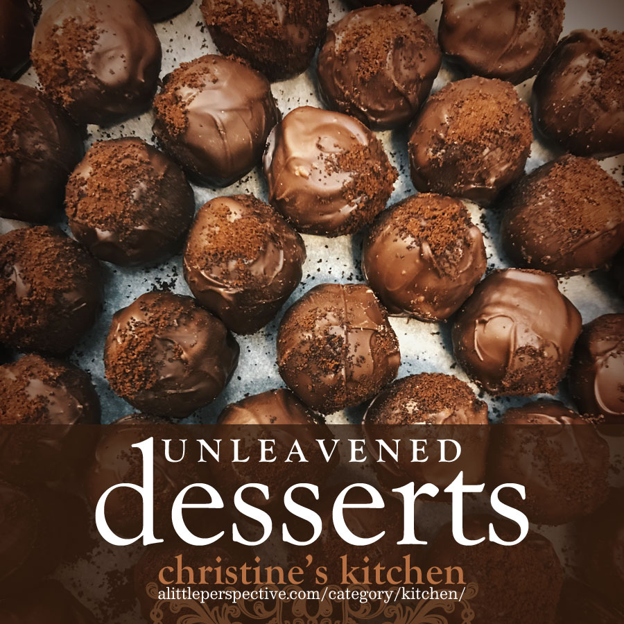 unleavened desserts | christine's kitchen at alittleperspective.com