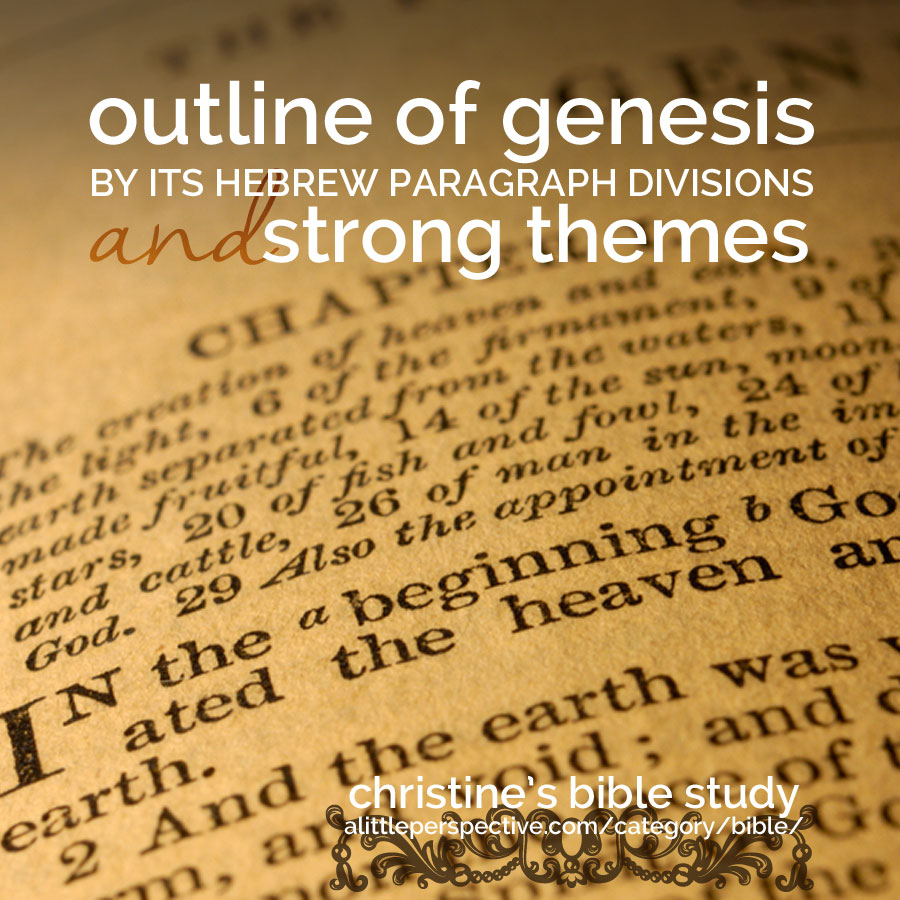 outline of genesis by its hebrew paragraph divisions and strong themes | christine's bible study at alittleperspective.com