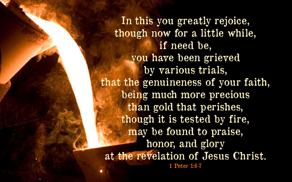 """In this you greatly rejoice, though now for a little while, if need be, you have been grieved by various trials, that the genuineness of your faith, being much more precious than gold that perishes, though it is tested by fire, may be found to praise, honor, and glory at the revelation of Jesus Christ."""