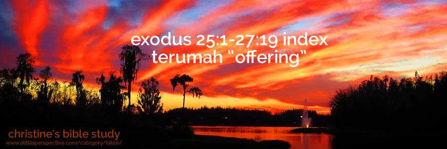 """exodus 25:1-27:19 terumah """"offering"""" index"""