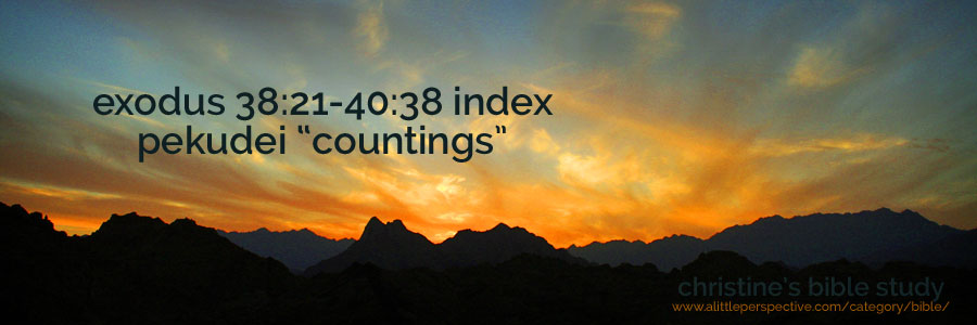 """exodus 38:21-40:38, pekudei """"countings"""" index 