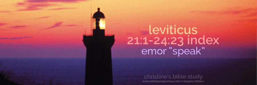 """leviticus 21:1-24:23, emor """"speak"""" index"""