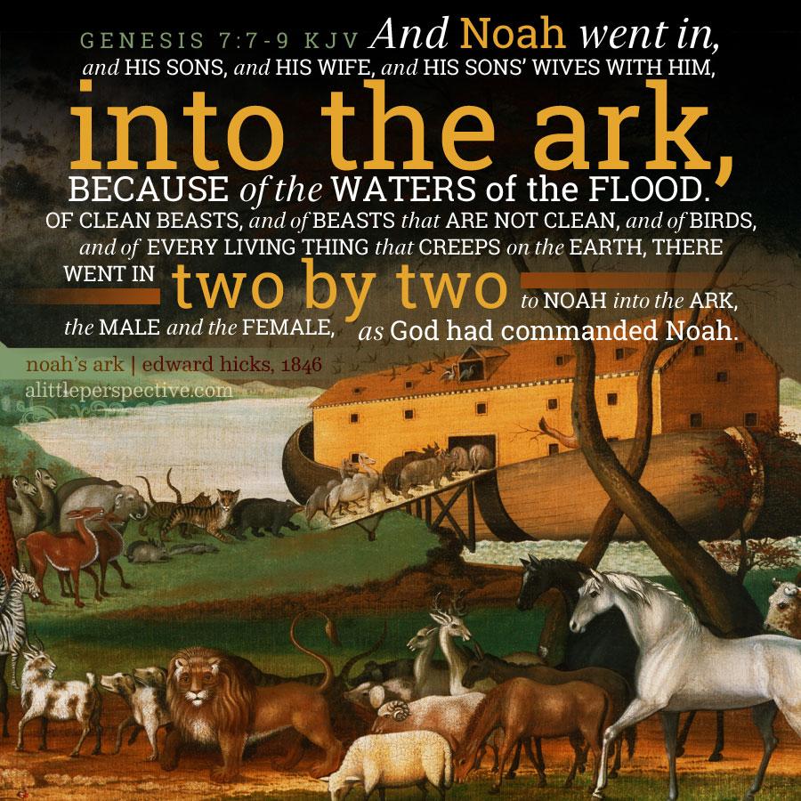 Gen 7:7-9 | scripture pictures at alittleperspective.com