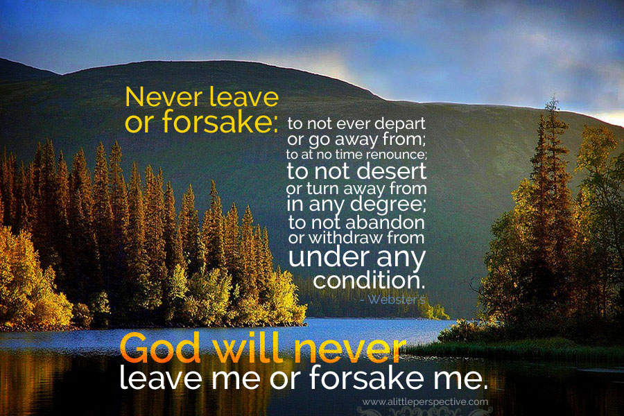God Will Never Leave Me Or Forsake Me | Scripture Pictures At A Little  Perspective
