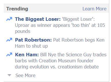 pat robertson, ken ham trending on facebook