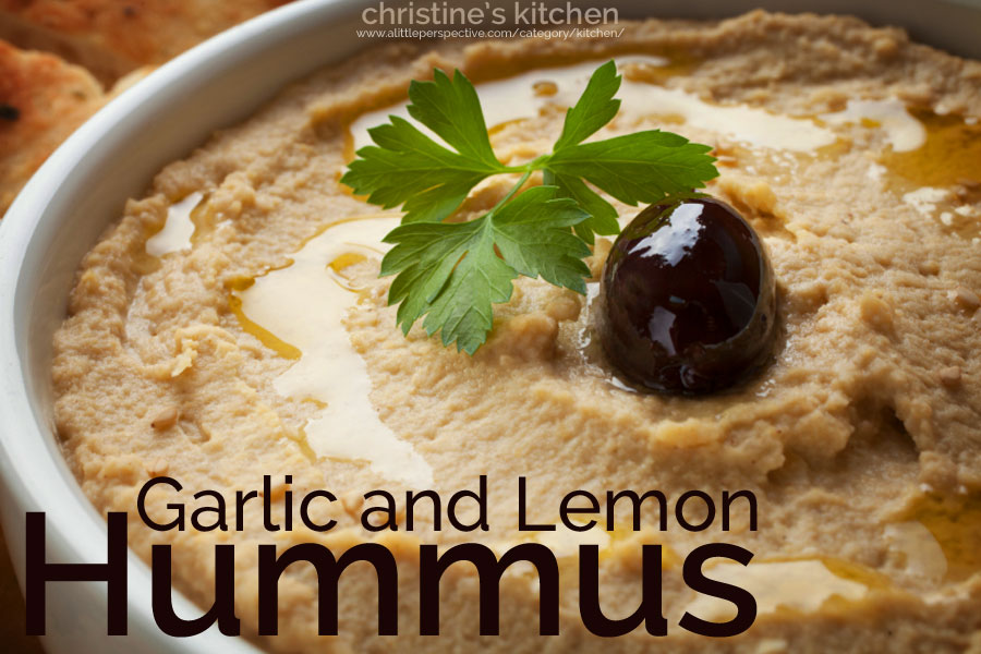 garlic and lemon hummus | christine's kitchen at a little perspective