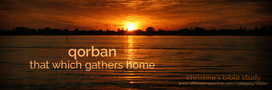 qorban, that which gathers home | christine's bible study at a little perspective