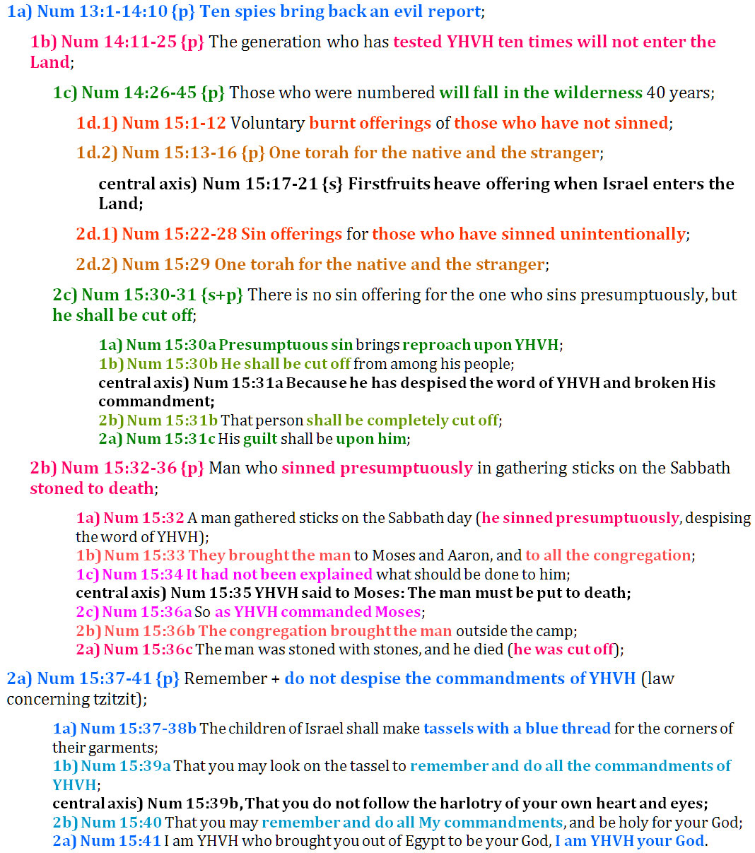 Num 13:1-15:41 chiasm | christine's bible study at alittleperspective.com