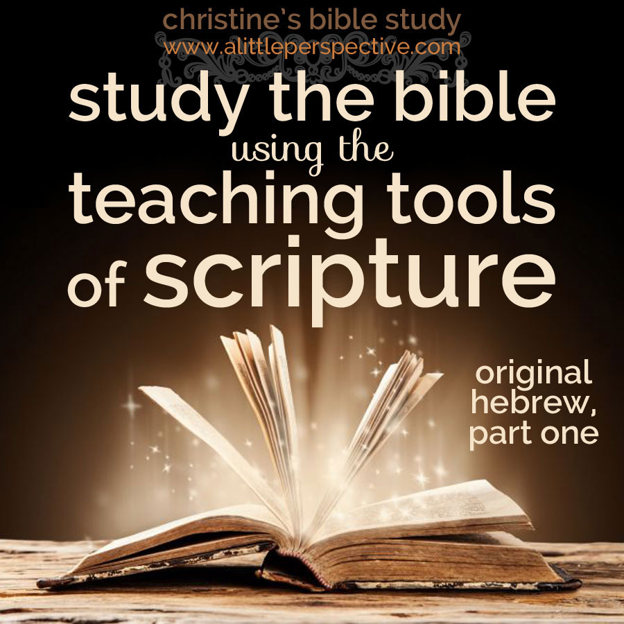 study the bible using the teaching tools of scripture: original hebrew, part one | christine's bible study at alittleperspective.com