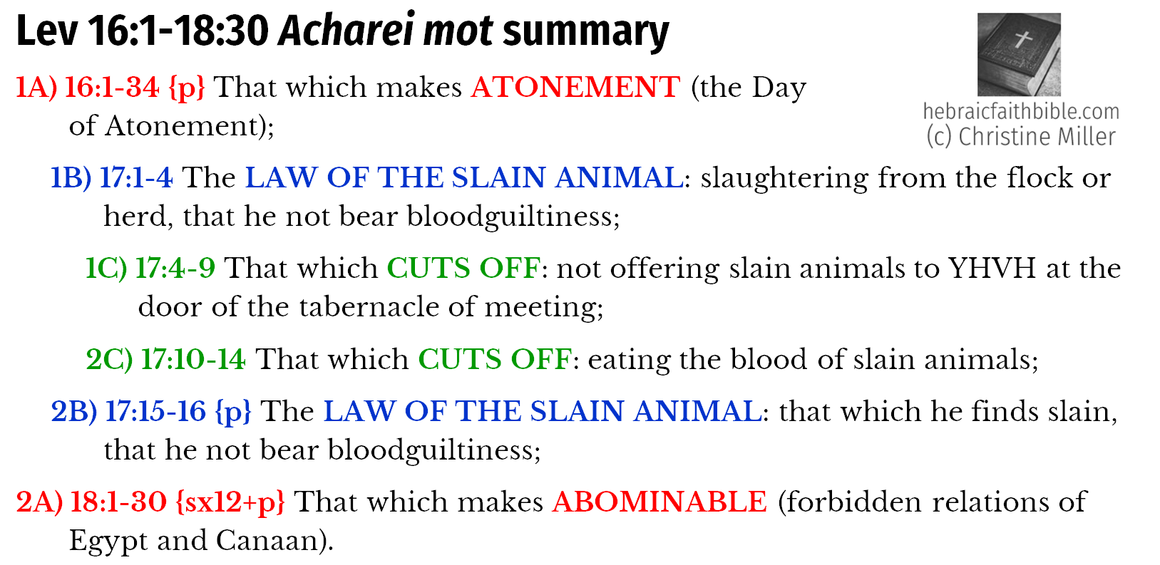 Lev 16:1-18:30 Acharei mot chiasm summary   hebraicfaithbible.com