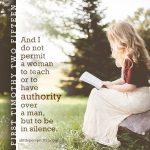 1 timothy 2:15, a woman teaching a man
