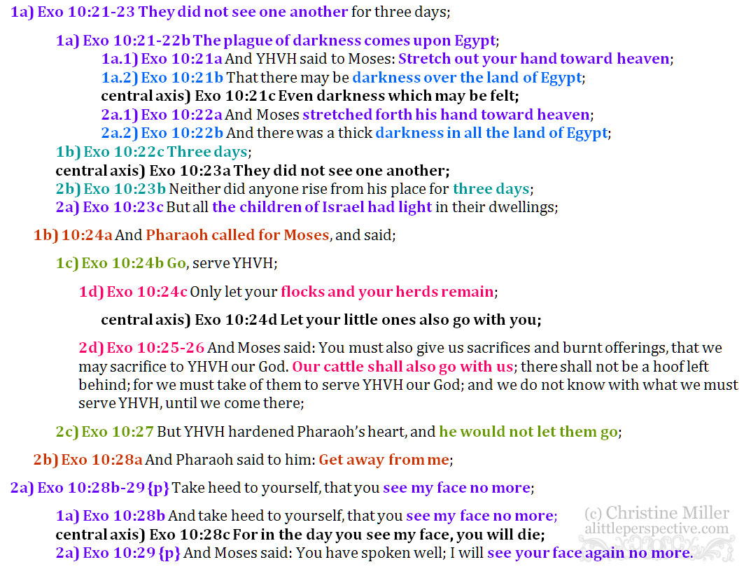 Exo 10:21-29 chiasm | christine's bible study at alittleperspective.com