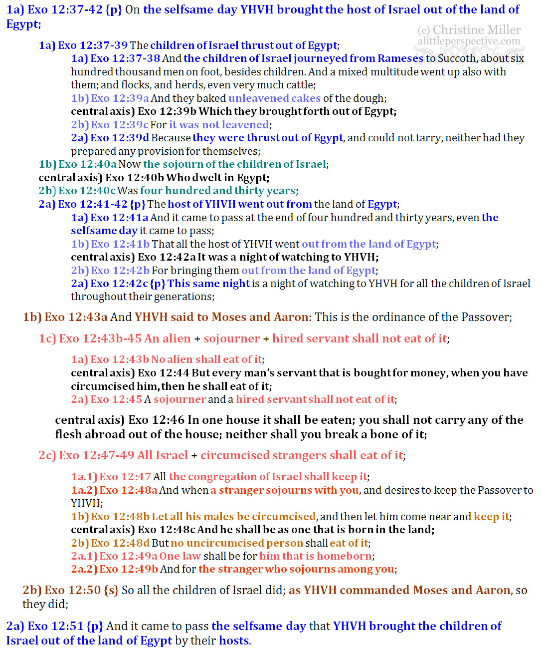 Exo 12:37-51 chiasm | christine's bible study at alittleperspective.com