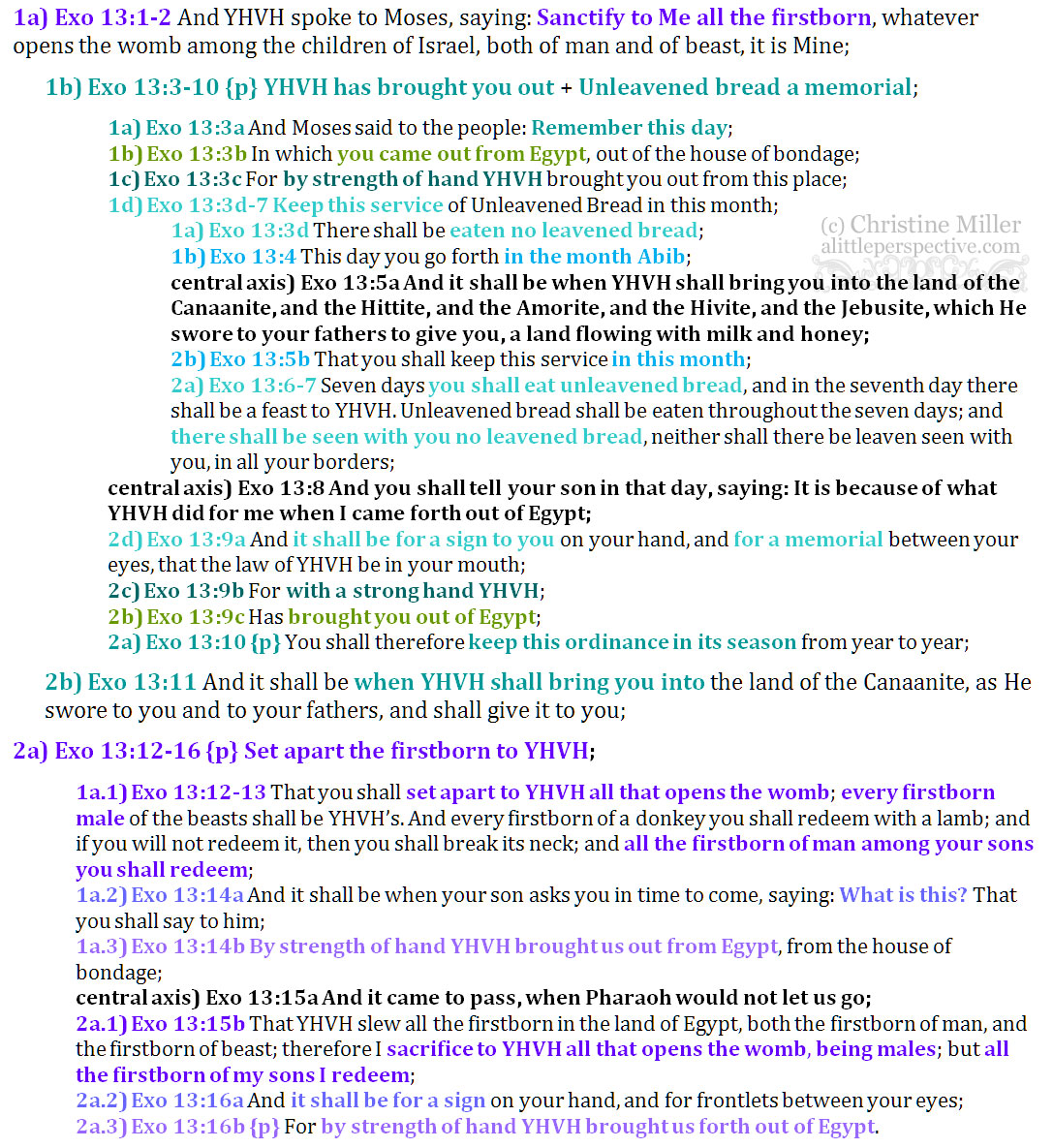 Exo 13:1-16 reverse parallelism | christine's bible study at alittleperspective.com