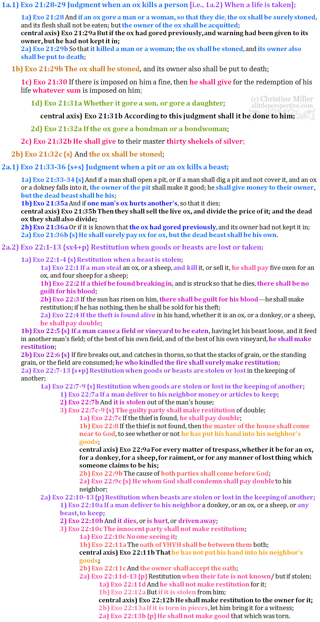 Exo 21:28-22:13 chiasm | christine's bible study at alittleperspective.com