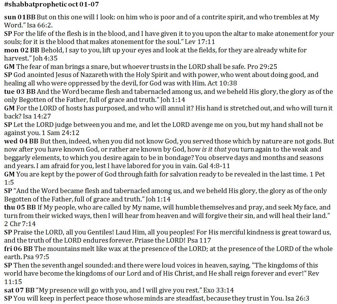 Shabbat Prophetic snip from prayer journal