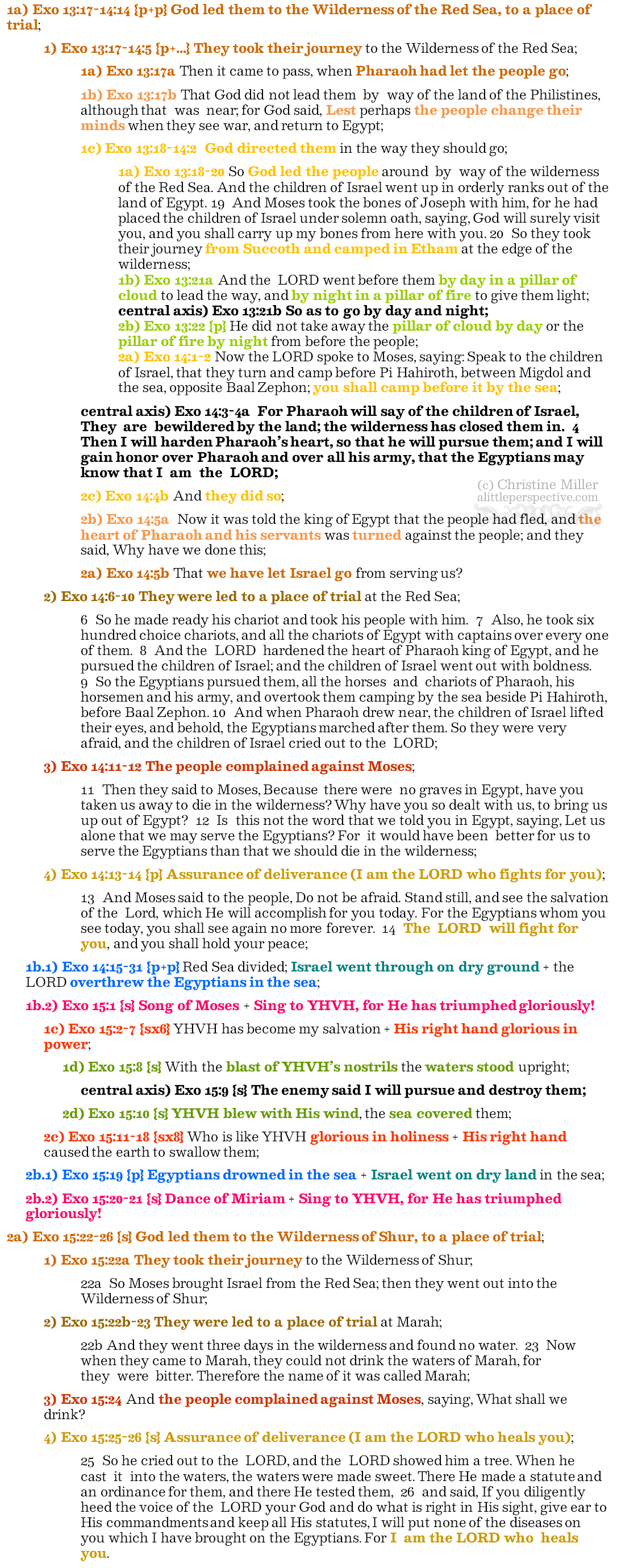 Exo 13:17-15:26 chiasm   christine's bible study at alittleperspective.com