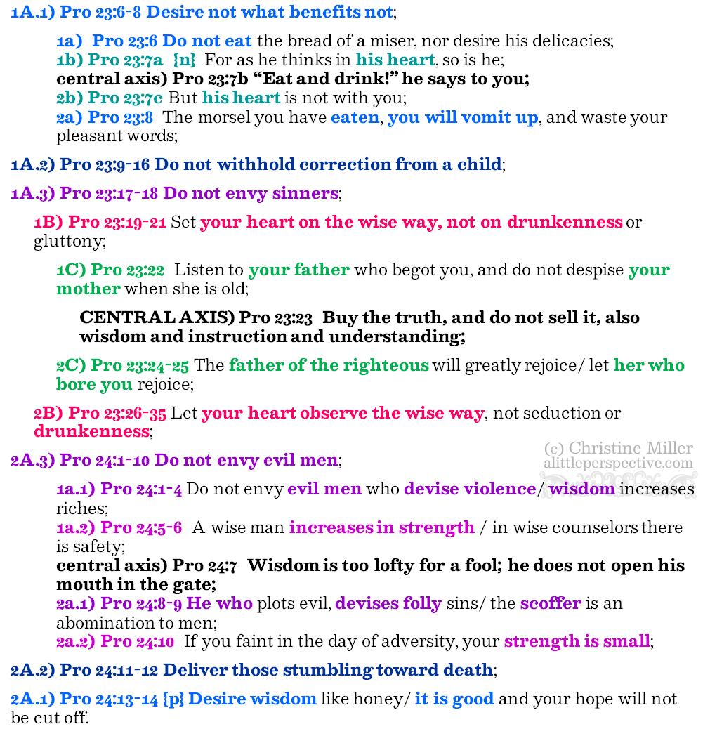 Pro 23:6-24:14 chiasm | christine's bible study at alittleperspective,com