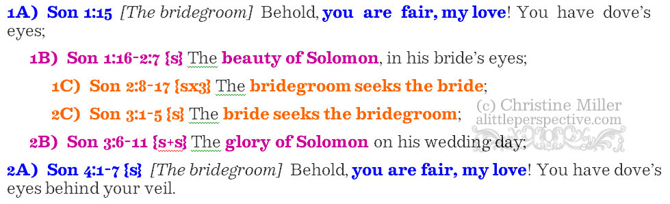 Son 1:15-4:7 chiasm | christine's bible study at alittleperspective.com