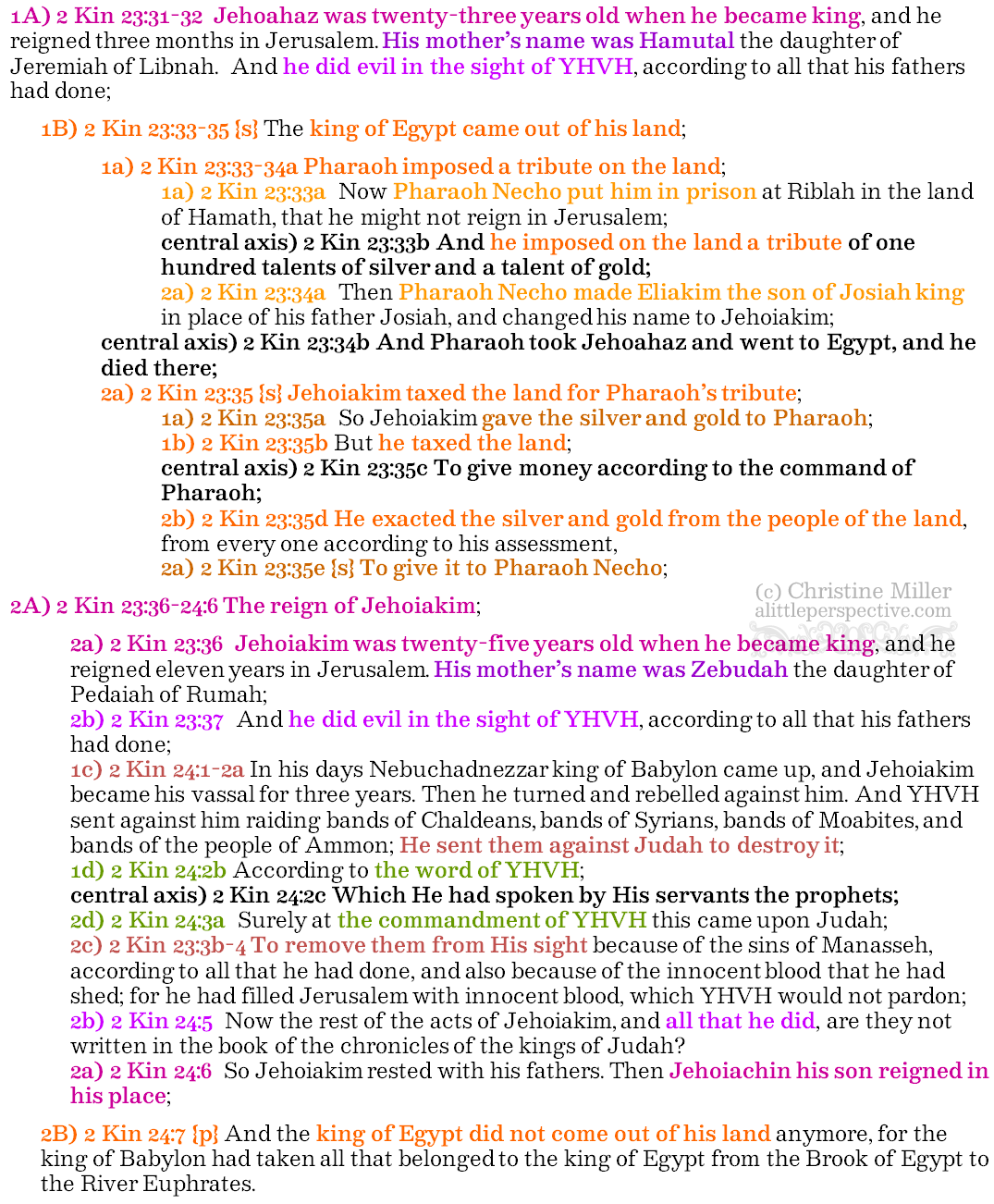 2 Kin 23:31-24:7 {s+p} strong theme chiasm | christine's bible study at alittleperspective.com