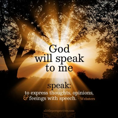 God will speak