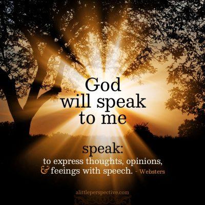 God will speak
