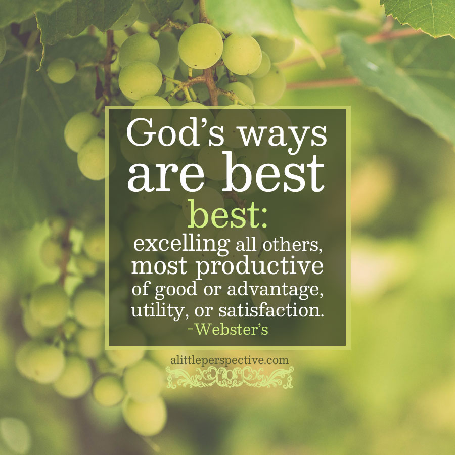 Gods ways are best | alittleperspective.com