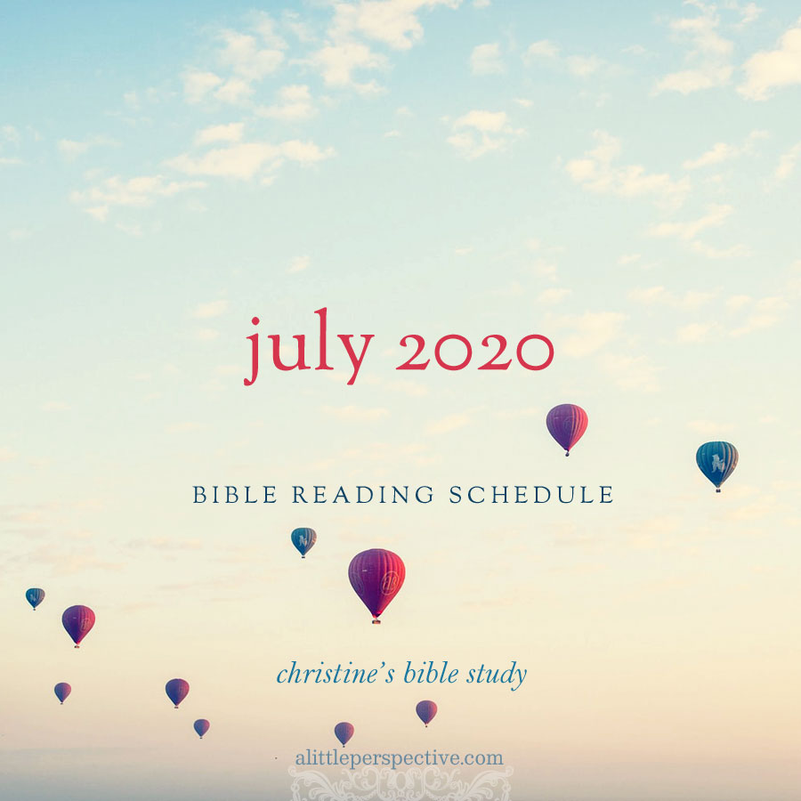july 2020 bible reading schedule | christine's bible study at alittleperspective.com