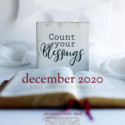 december 2020 bible study schedule