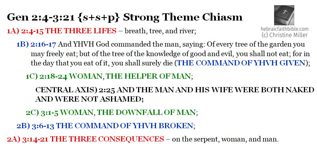 Gen 2:4-3:21 Strong Theme Chiasm | hebraicfaithbible.com