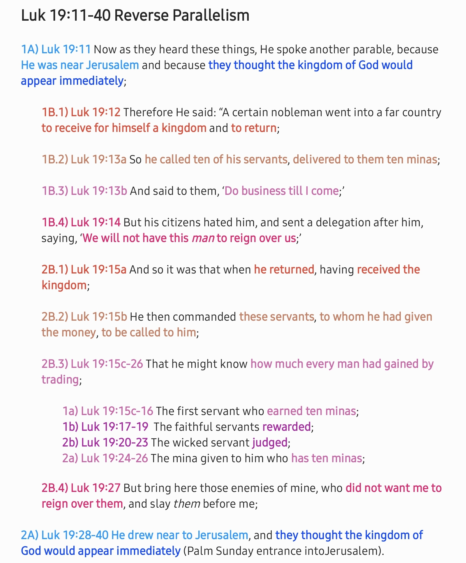 Luk 19:11-40 Reverse parallelism | hebraicfaithbible.com
