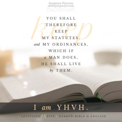 Leviticus 18:5, He shall live by them