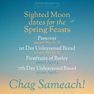 Sighted moon dates for the spring feasts