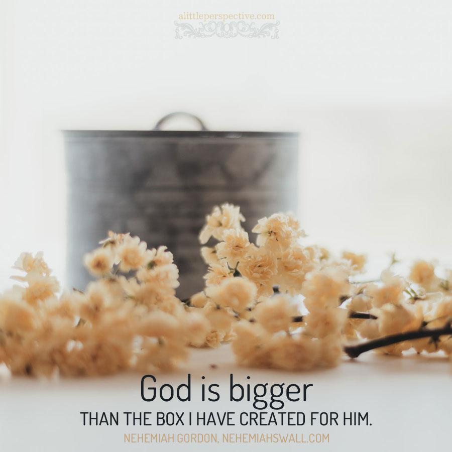 God is bigger ... Nehemiah Gordon | alittleperspective.com